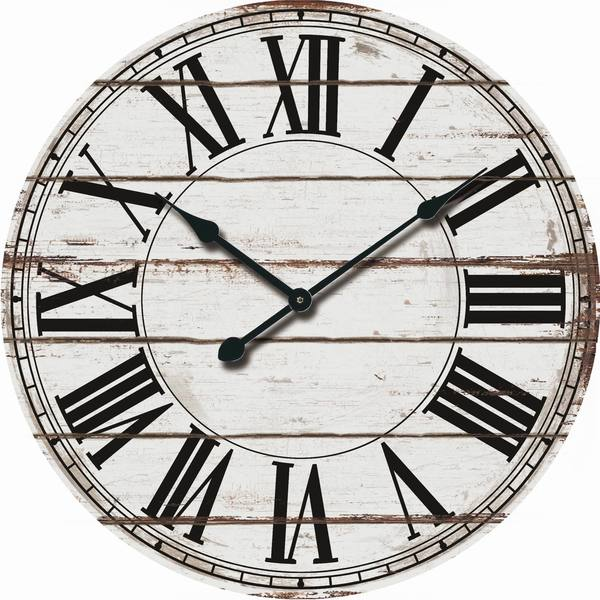 Rustic White Wood Oversized Wall Clock