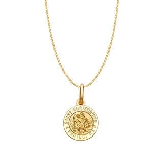 14k Yellow Gold Saint Christopher Medallion and Curb Chain Necklace