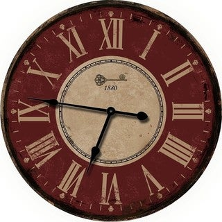 DARK RED OVERSIZED 24 DECORATIVE WALL CLOCK