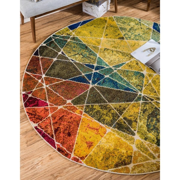 Unique Loom Nova Barcelona Round Rug - 6' 0 x 6' 0
