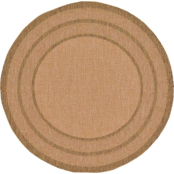 Unique Loom Multi Border Outdoor Round Rug - 6' 0 x 6' 0