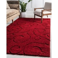 Unique Loom Carved Floral Shag Area Rug - 5' x 8'