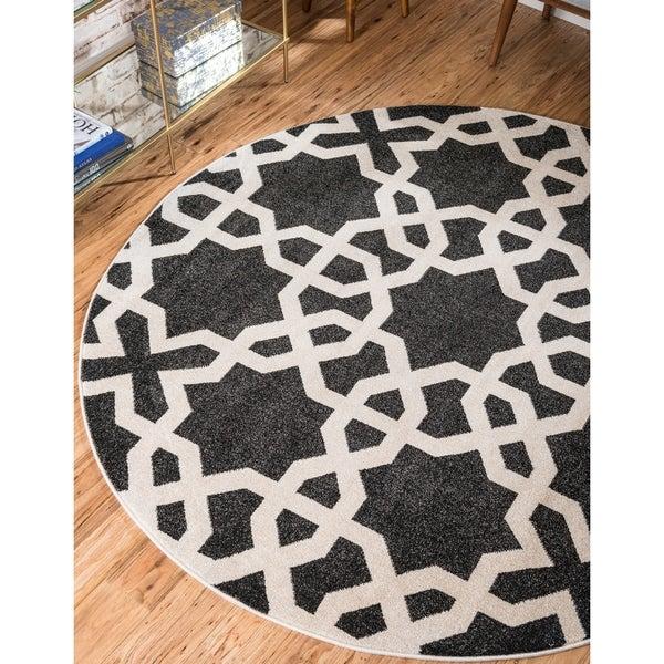 Unique Loom Charlotte Trellis Round Rug - 6' x 6'