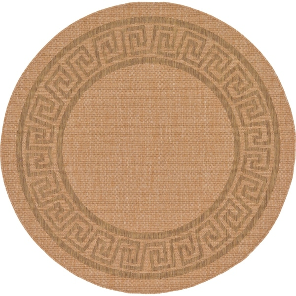 Unique Loom Greek Key Outdoor Round Rug - 6' 0 x 6' 0