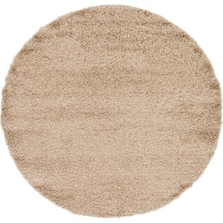 Unique Loom Solid Shag Round Rug - 6' x 6' (Option: Taupe)