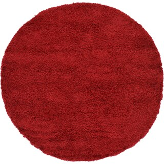 Unique Loom Solid Shag Round Rug - 6' x 6' (Option: Cherry Red)