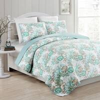 Panama Jack Sea Collection Aqua 3 piece Quilt Set