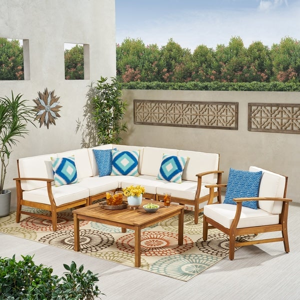 Perla Outdoor 7-piece Acacia Wood Sofa Set with Cushion by Christopher Knight Home. Opens flyout.
