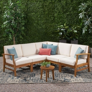 Link to Perla Outdoor 5-piece Acacia Wood Chat Set with Cushion by Christopher Knight Home Similar Items in Outdoor Sofas