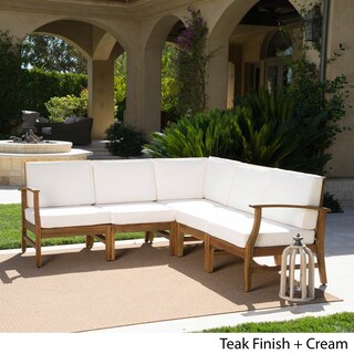 Perla Outdoor 5-piece Acacia Wood Chat Set with Cushion by Christopher Knight Home
