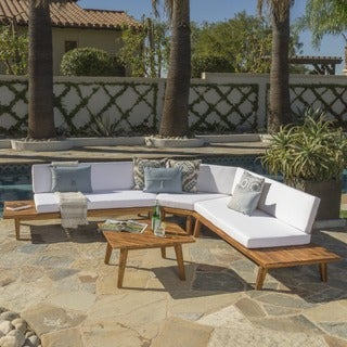 Link to Hillcrest Outdoor Sectional Sofa (Set of 4) by Christopher Knight Home Similar Items in Patio Sets