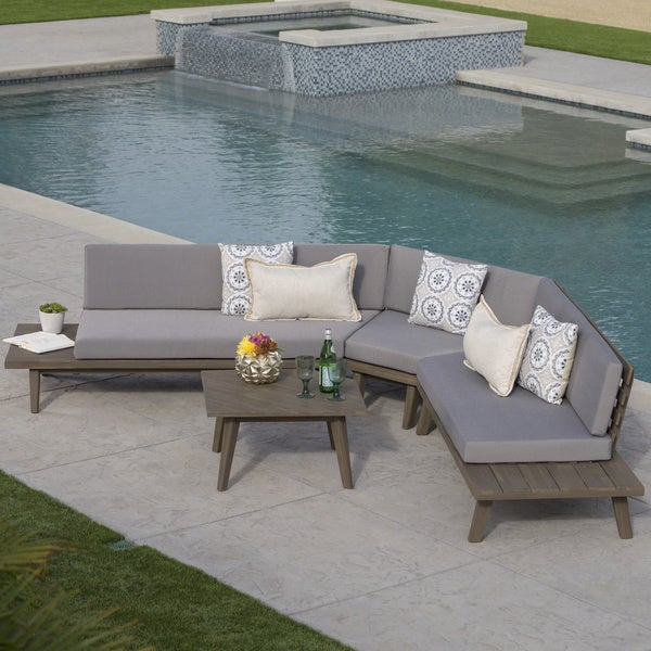 Christopher Knight Home Highpoint Outdoor V Shaped 4 Piece Sandblast Finished Acacia Wood Sectional Sofa Set with White Water Resistant Cushions