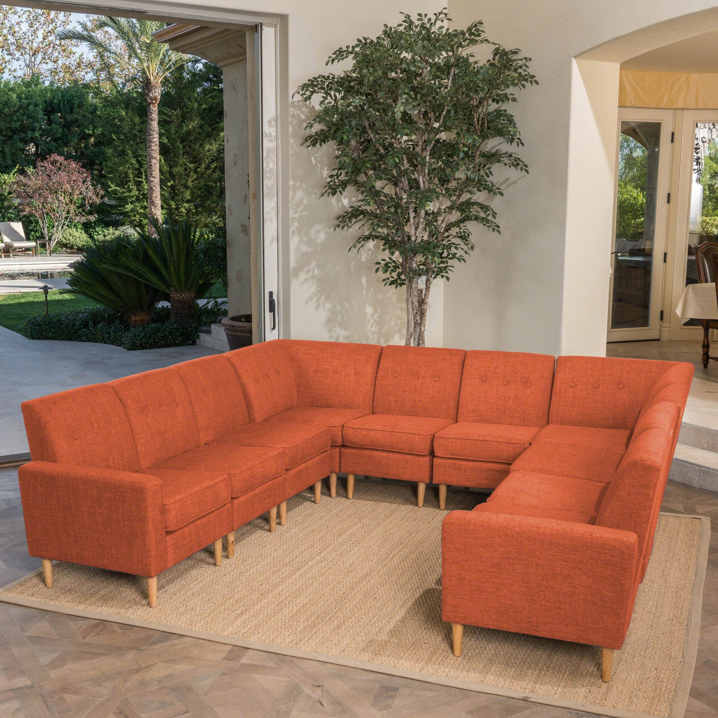 Sawyer Mid Century Modern 10-piece Fabric U Shaped Sectional Sofa Set by  Christopher Knight Home
