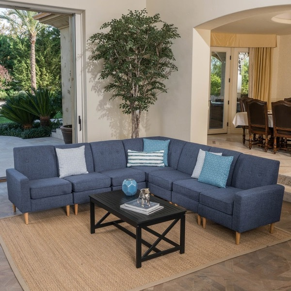 Sawyer Mid Century Modern 7 Piece Fabric Sectional Sofa Set By Christopher  Knight Home
