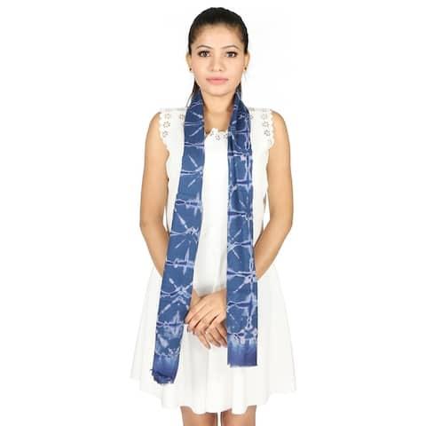 Olivia Leone Indigo Tye-Dye Printed Pattern Cotton Wrap Scarf / Stole for Women