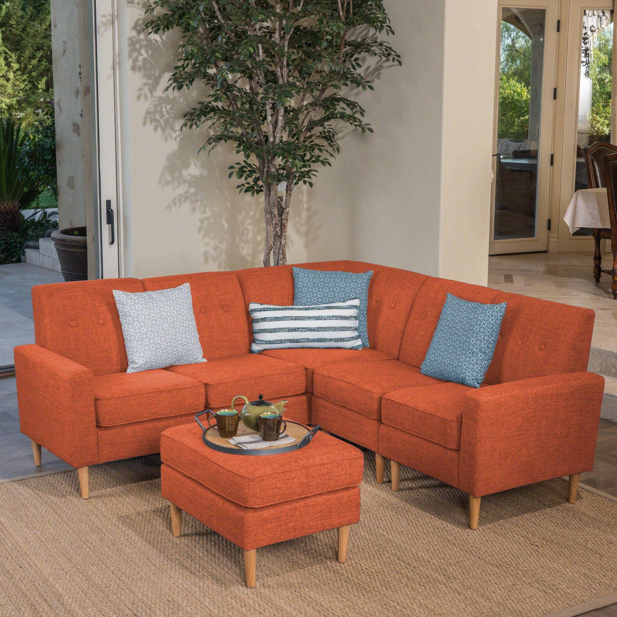Details About Sawyer Mid Century Modern 6 Piece Fabric Sectional Sofa Set