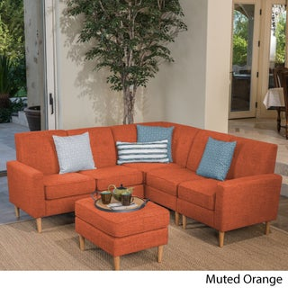 Sawyer Mid Century Modern 6-piece Fabric Sectional Sofa Set by Christopher Knight Home (Option: Muted Orange)