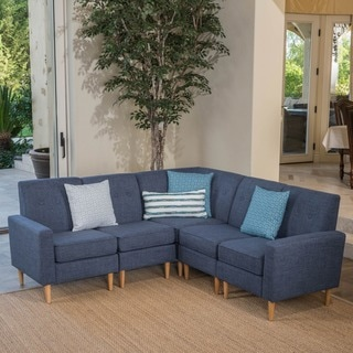 Sawyer Mid Century Modern 5 Piece Fabric Sectional Sofa Set By Christopher  Knight Home