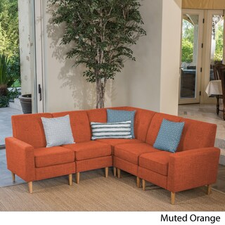 Sawyer Mid Century Modern 5-piece Fabric Sectional Sofa Set by Christopher Knight Home