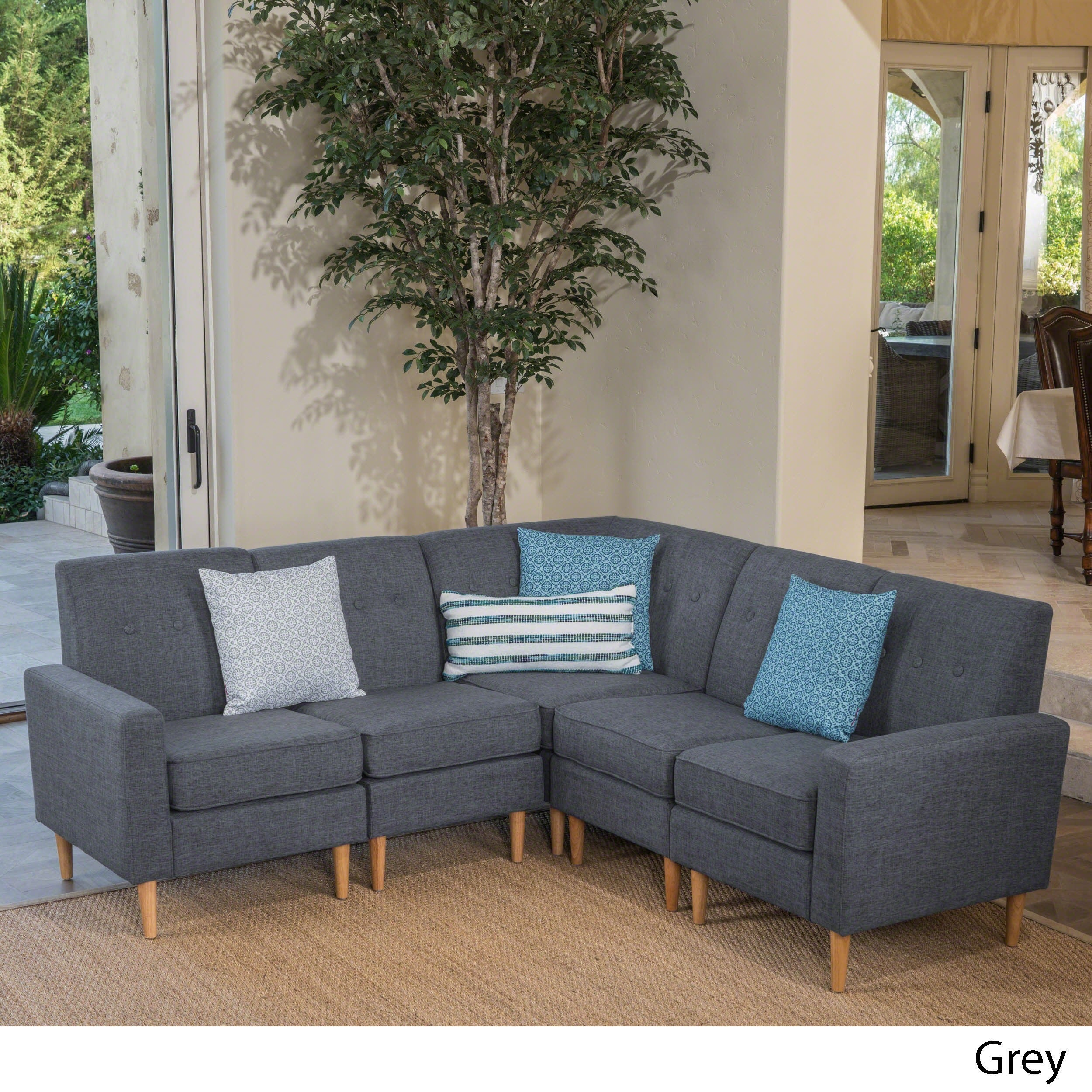 Sawyer Mid Century Modern 5-piece Fabric Sectional Sofa Set by ...