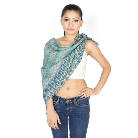 Olivia Leone Shades of Blue/Velvet Zig Zag Chevron Pattern Cotton Square Scarf for Women