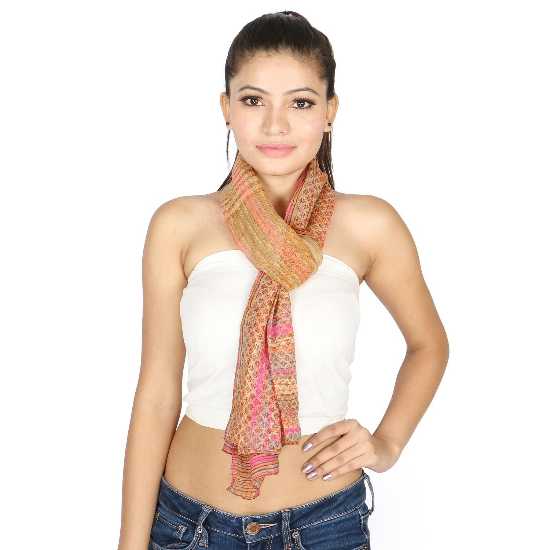 Olivia Leone Beige Brush Strokes and Stripes Printed Patt...