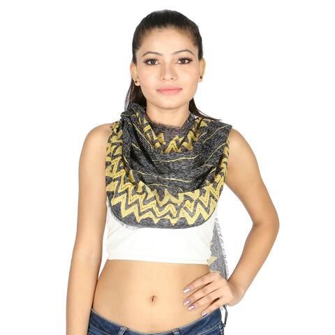 Olivia Leone Black & Mustard Color Zig Zag Chevron Printed Pattern Cotton Wrap Scarf / Stole for Women