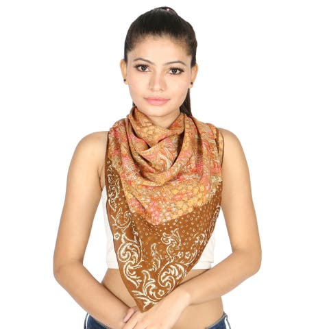 Olivia Leone Teal Brown Floral Pattern Printed Crepe Square Scarf for Women
