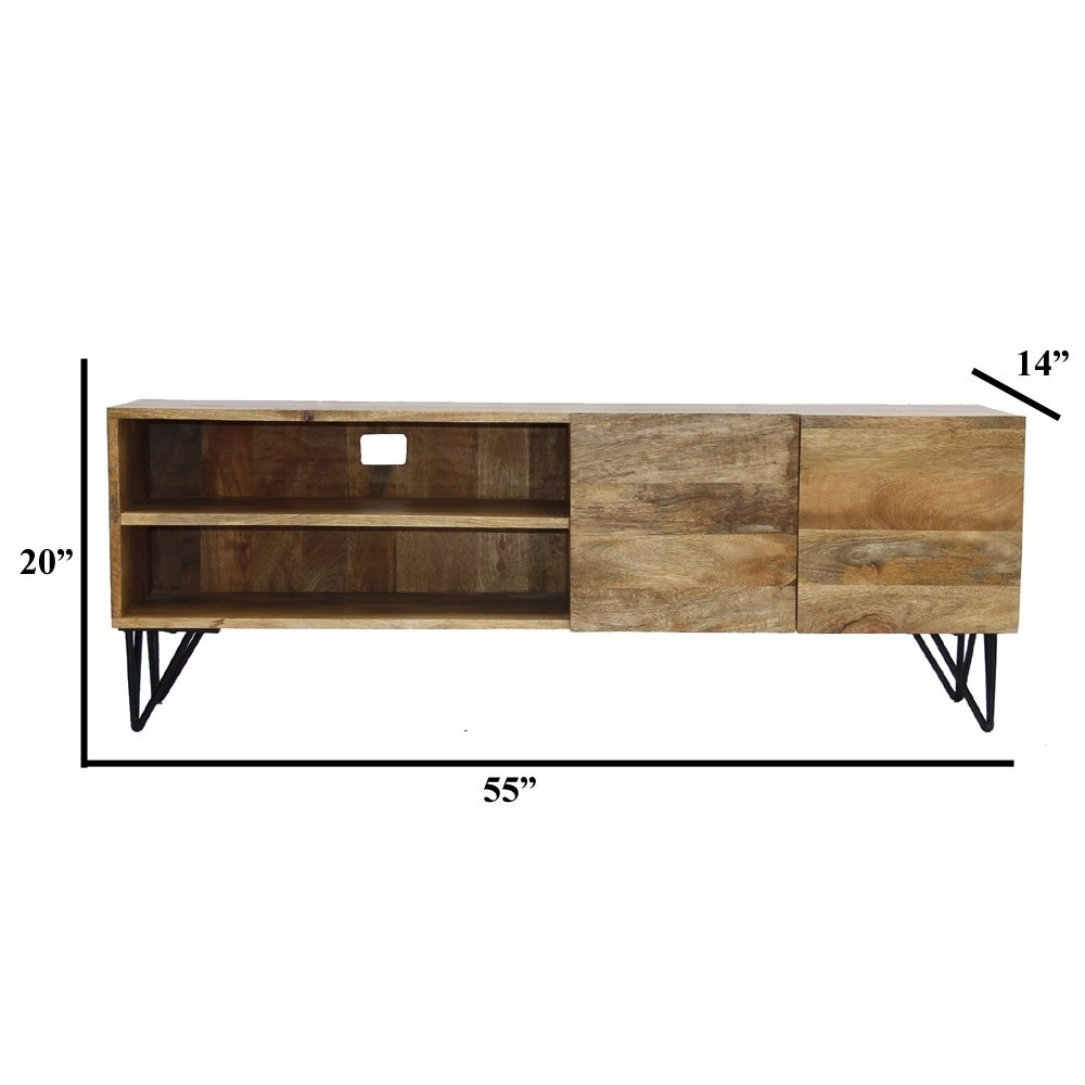 Style Mango Wood And Metal Tv Stand With Storage Cabinet Brown