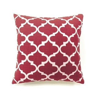 Xia Contemporary Style Pillow, Red Quatrefoil, Set of 2, Small