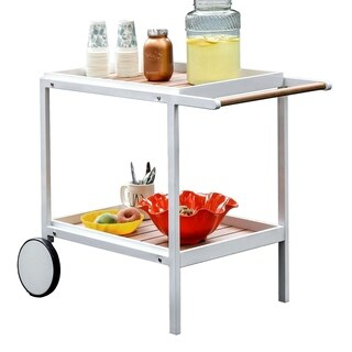 Kali Contemporary Serving Cart, White