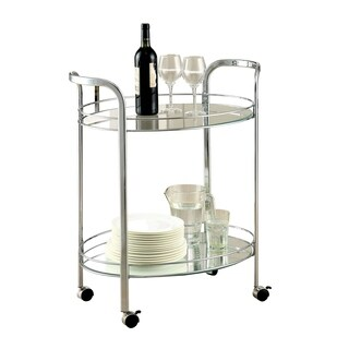 Loule Contemporary Serving Cart In Chrome Finish