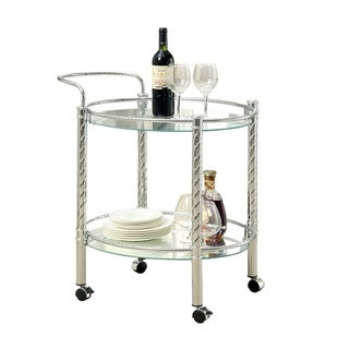 Traco Contemporary Serving Cart In Chrome Finish