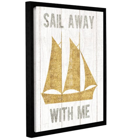 Michael Mullan's Beachscape V Boat Quote Gold Neutral, Gallery Wrapped Floater-framed Canvas