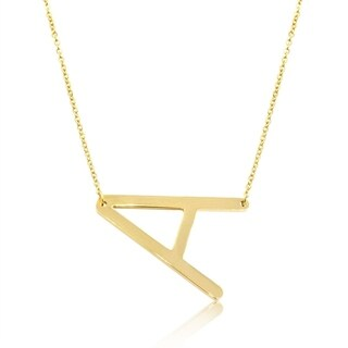 Sideways Initial Necklace In Gold Tone, Available In All Letters A-Z, 18 Inches