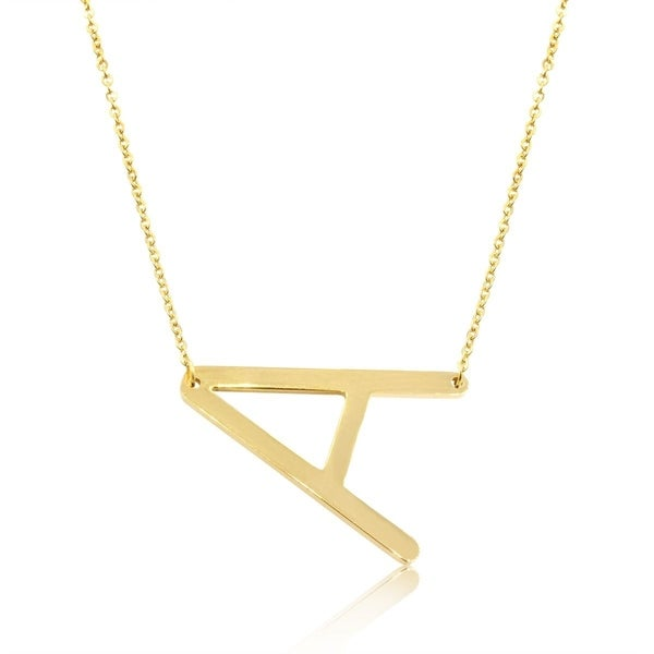 sideways initial necklace in gold tone available in all letters a z 18 inches