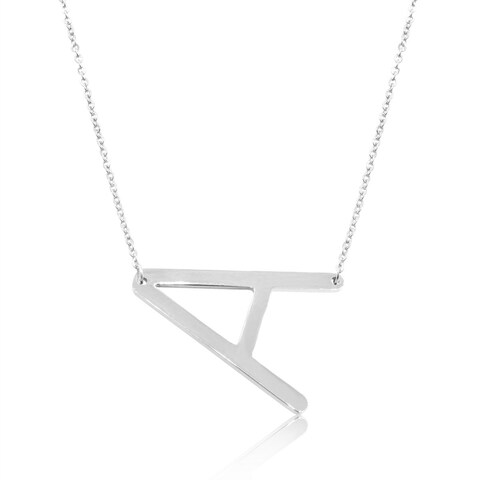 Sideways Initial Necklace In Silver Tone, Available In All Letters A-Z, 18 Inches