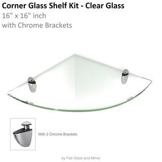 Floating Corner Glass Shelf 16x16 Inch with Chrome Brackets by Fab Glass and Mirror