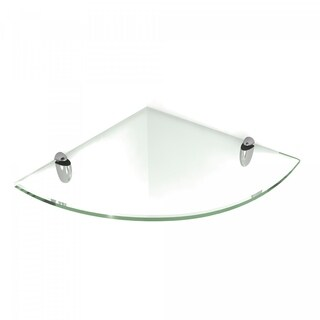 Floating Corner Glass Shelf 8x8 Inch with Chrome Brackets by Fab Glass and Mirror