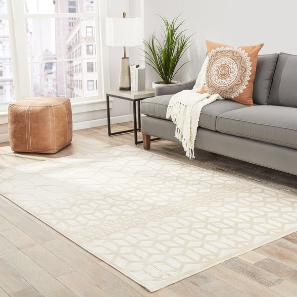 "Dane Geometric White Area Rug (2'6"" X 8')"