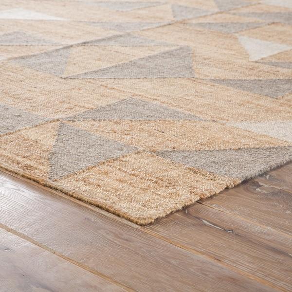 Leeds Beige/ Grey Geometric Handmade Area Rug (5' x 8') - 5' x 8'
