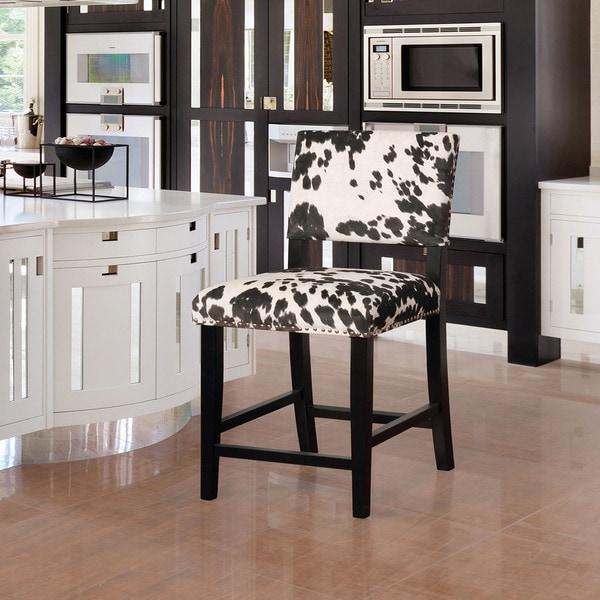 Linon Lemont Black Cow Print Counter Stool