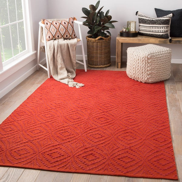 Arbor Handmade Trellis Red/ Orange Area Rug (2' X 3')