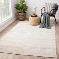 Orleanna Indoor/ Outdoor Solid Cream/ Gray Area Rug (2' X 3')