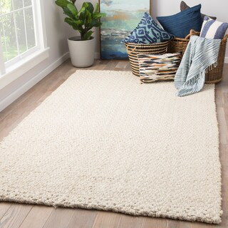Tate Natural Solid White Area Rug (2' X 3')