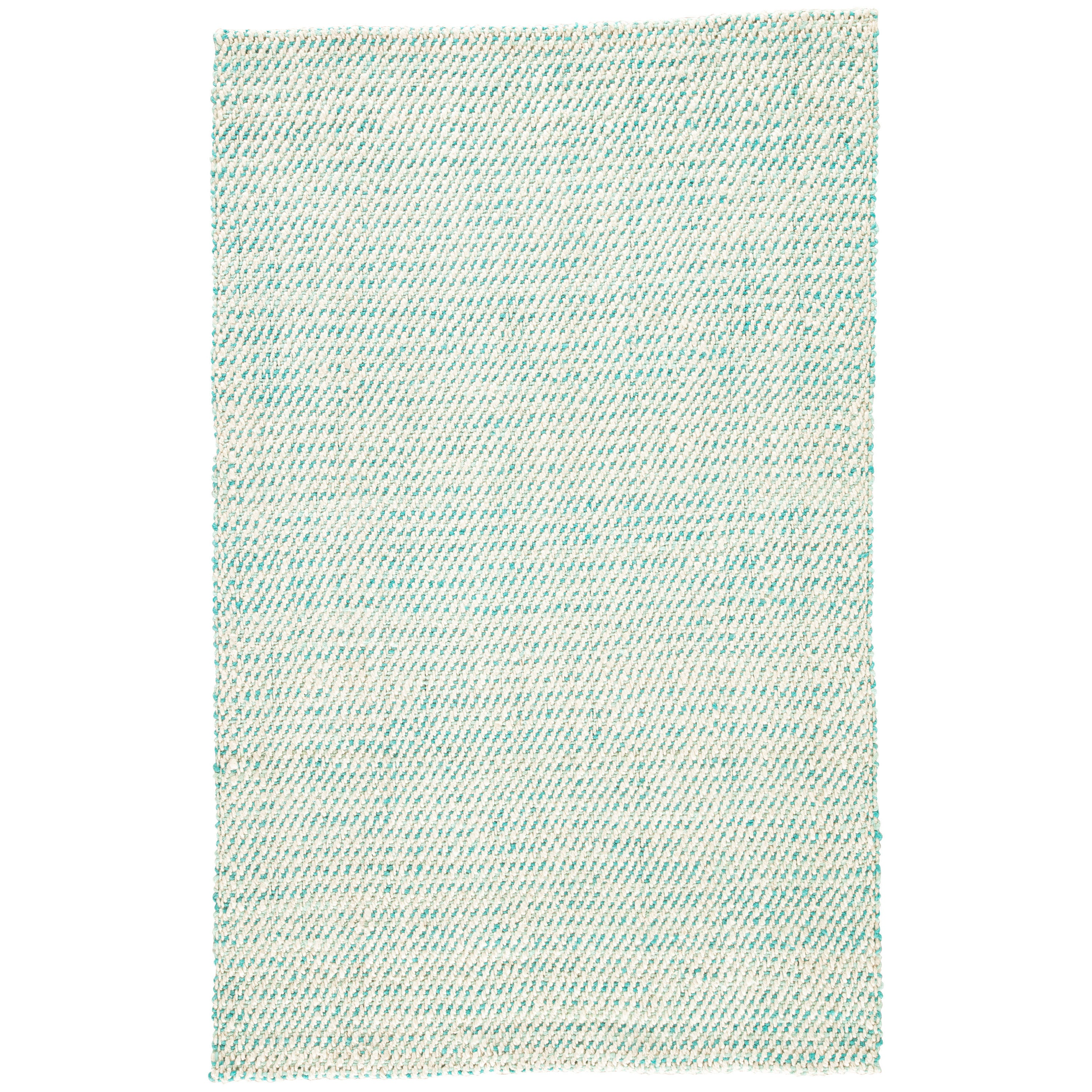 Havenside Home Bayview Natural Solid White/ Aqua Area Rug (2' x 3')