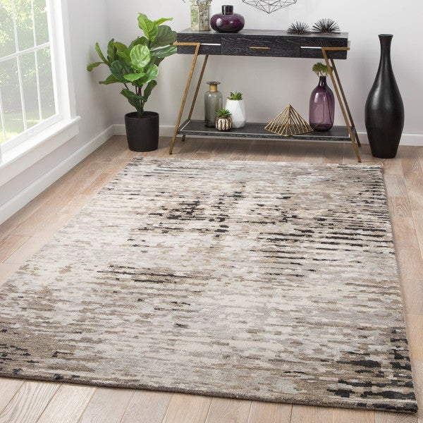 Brice Hand-Knotted Abstract Gray/ Black Area Rug (2' x 3')