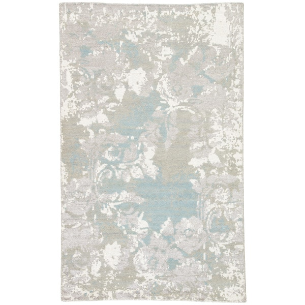 Alzira Grey White Floral Wool Blend Hand Knotted Area Rug Overstock 18193148 Grey White 5 X 8