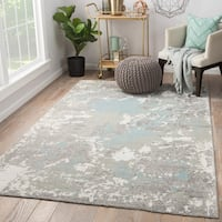 Alzira Hand-Knotted Floral Gray/ White Area Rug