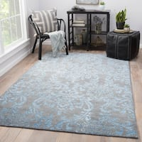 Soliel Hand-Knotted Damask Gray/ Turquoise Area Rug